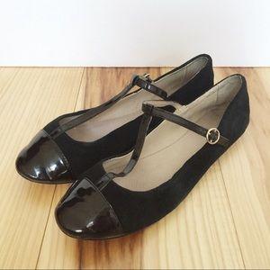 Topshop Black Suede Patent Leather T Strap Flats